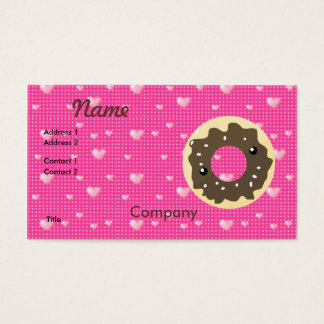 Cute Kawaii Style Chocolate Frosted Donut Business Card
