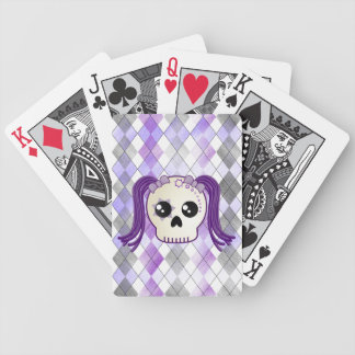 Cute Kawaii Style Cyberpunk Emo Skull on Argyle Bicycle Playing Cards