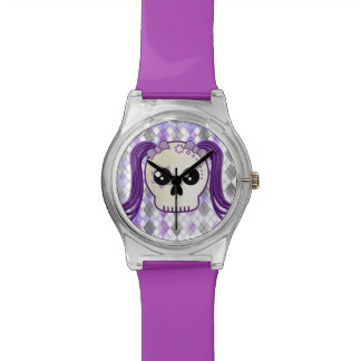 Cute Kawaii Style Cyberpunk Emo Skull on Argyle Watch
