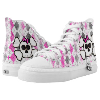 Cute Kawaii Sugar Skull on Pink Argyle Plaid High Tops