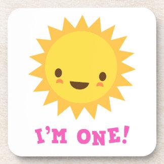 Cute kawaii sun cartoon character I am one Coaster
