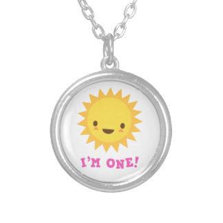 Cute kawaii sun cartoon character I am one Silver Plated Necklace