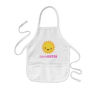 Cute kawaii sun cartoon character little sister kids apron