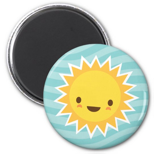 Cute kawaii sun cartoon character on blue 6 cm round magnet