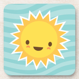 Cute kawaii sun cartoon character on blue beverage coaster