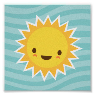 Cute kawaii sun cartoon character on blue kids poster