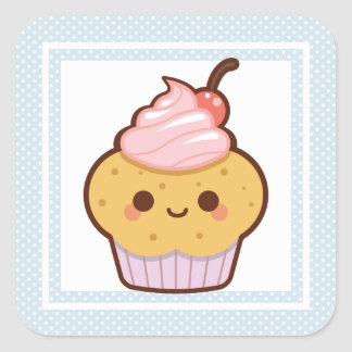 CUTE KAWAII SWEET CUPCAKES CHERRY CUSTOM COLOR SQUARE STICKER