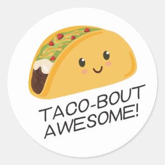 Cute Kawaii Taco Taco-bout Awesome Classic Round Sticker