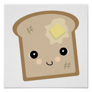 cute kawaii toast poster