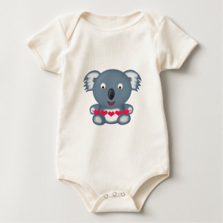 Cute Kawaii Valentine's Koala Bear with Hearts Baby Bodysuit