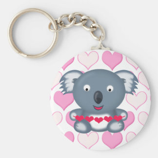 Cute Kawaii Valentine's Koala Bear with Hearts Key Ring