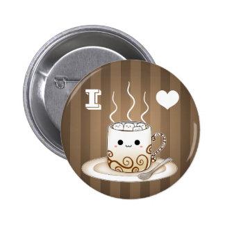 Cute kawaii warm cocoa drink 6 cm round badge