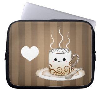 Cute kawaii warm cocoa drink laptop sleeve
