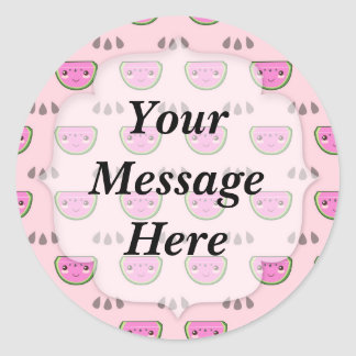 Cute Kawaii Watermelon Pattern Round Sticker