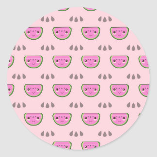 Cute Kawaii Watermelon Pattern Round Sticker