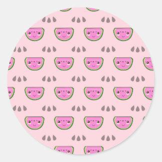Cute Kawaii Watermelon Pattern Classic Round Sticker