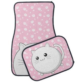Cute Kawaii white kitty cat Car Mat