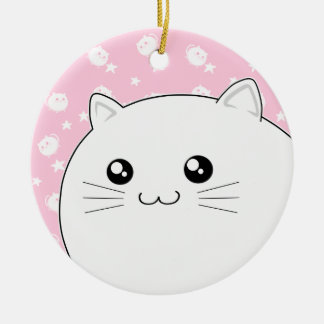 Cute Kawaii white kitty cat Round Ceramic Decoration