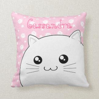 Cute Kawaii white kitty cat Throw Pillow