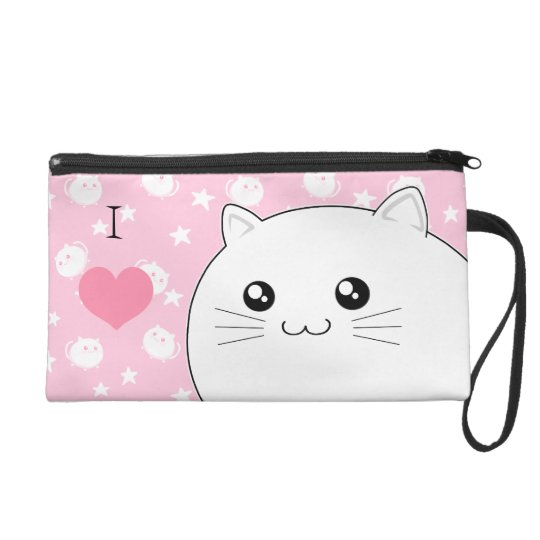 Cute Kawaii white kitty cat Wristlet