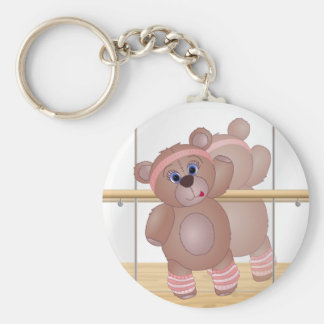 Cute Keep Fit Aerobics Teddy Bear in Girly Pinks Basic Round Button Key Ring
