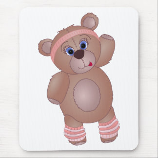 Cute Keep Fit Aerobics Teddy Bear in Girly Pinks Mouse Pad