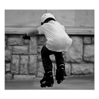 Cute Kid on Rollerblades photo Poster