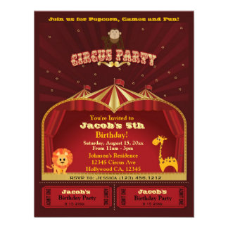 Cute Kid s Circus Tickets Birthday Party Custom Invites