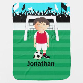 Cute kid soccer player baby blanket