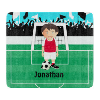 Cute kid soccer player cutting board
