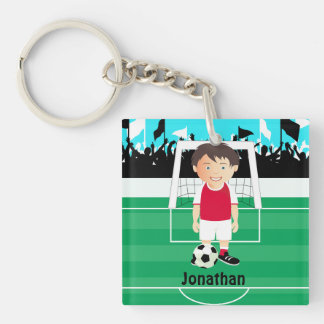 Cute kid soccer player Double-Sided square acrylic key ring
