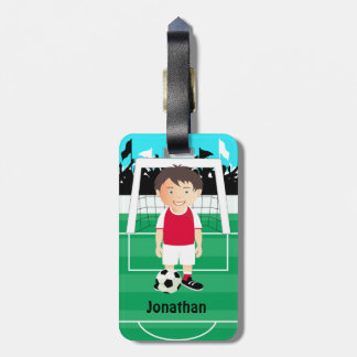 Cute kid soccer player luggage tags