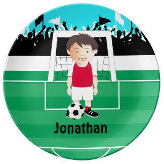 Cute kid soccer player porcelain plate