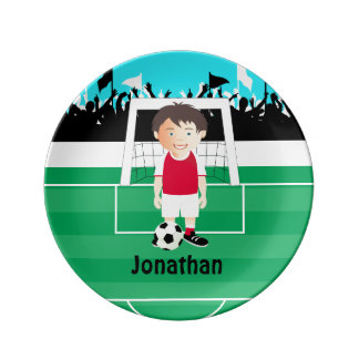 Cute kid soccer player porcelain plates