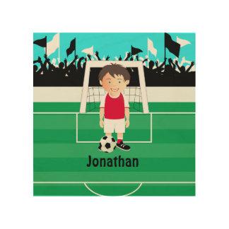Cute kid soccer player wood print