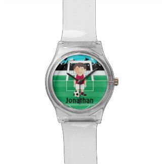 Cute kid soccer player wrist watch