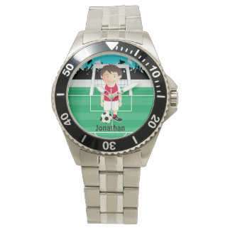 Cute kid soccer player wristwatches