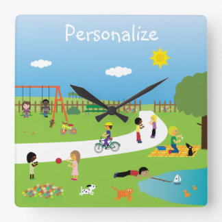Cute Kids & Animals Playing in the Park Wall Clocks
