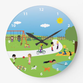 Cute Kids & Animals Playing in the Park Wallclock
