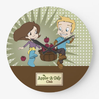 Cute Kids - Apple -A- Day Club! Large Clock