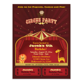 "Cute Kid's Circus Tickets Birthday Party 4.25"" X 5.5"" Invitation Card"