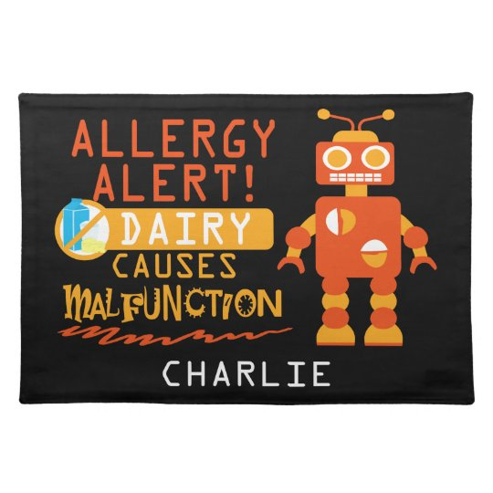 Cute Kids Dairy Allergy Alert Robot Personalised Placemat