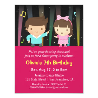 "Cute Kids Disco Lights Dance Birthday Party 4.25"" X 5.5"" Invitation Card"