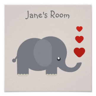 Cute kid's elephant with hearts customisable name poster