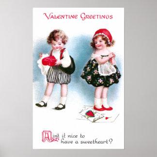 Cute Kids Exchange Valentines Vintage Poster