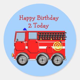 Cute Kids Fire Engine Sticker/Label Cupcake Topper Round Sticker