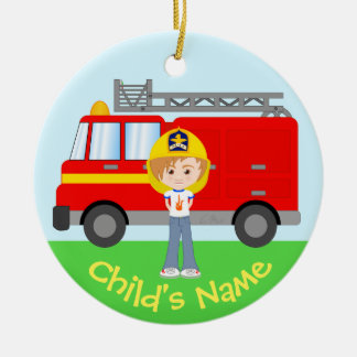 Cute Kid's Firefighter and Truck Colorful Cartoon Christmas Ornament