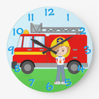 Cute Kid's Firefighter and Truck Colorful Cartoon Large Clock