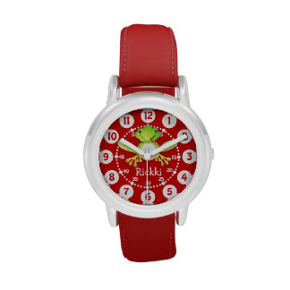 Cute kids frog and name red watch