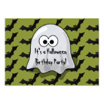Cute Kids Halloween Birthday Party Ghost and Bats 13 Cm X 18 Cm Invitation Card